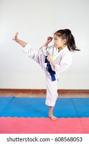 Children during training in karate. Fighting position, active lifestyle