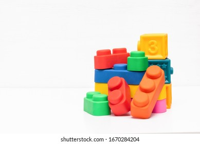 Children educational toys on the white background.