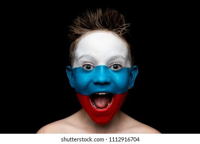 Children Emotions with National Flags painted on their faces