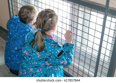 Children in the entrance looking at the street through the bars and window. Boy's and girl's jackets and pants sit with their back to us and hold onto the bars with his hands.