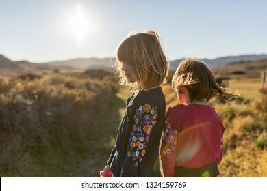 Children exploring nature, Cabo de Gata - Nijar Natural Park, Spain