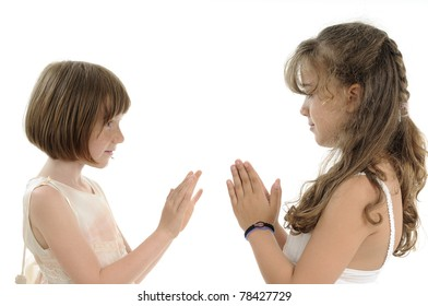 children expressing friendship