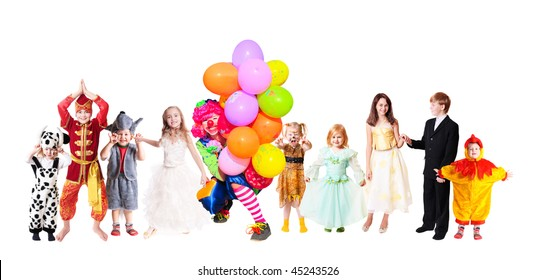 children in fancy dress isolated on white