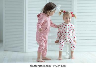 Children in fashionable pajamas