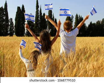 children with flags of israel