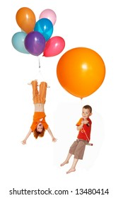 Children fly by balloons