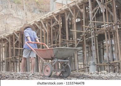 Children are forced to work construction., World Day Against Child Labour concept.