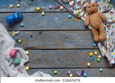 Light Blue Newborn Little Me Baby-Boys Chevron Teddy Bear Footie