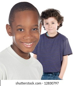 Children friends - a over white background -