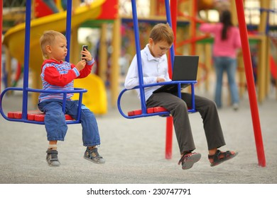 Children with gadgets