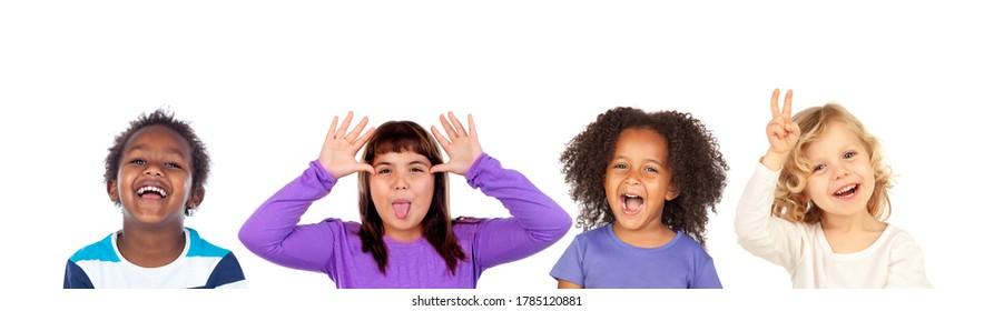 Children gesturing different expressions isolated on a white background