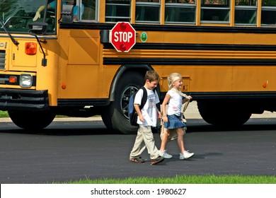 Children Getting off Bus