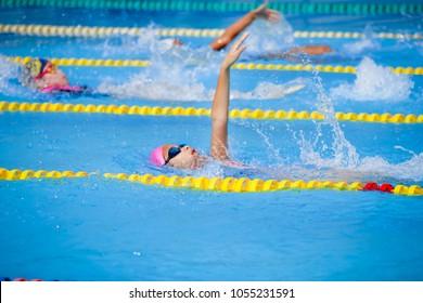 Children girl in swimming pool , Asian Girl , Thailand