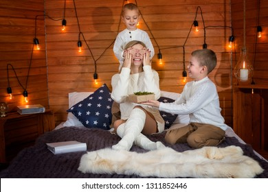 Children give their beloved mother a gift.Mom with children in the winter frosty evening sitting on the bed and play together.