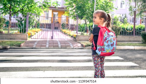 Children go to school, a happy student with a backpack, crosses the road, the concept of education with a child, a place for text