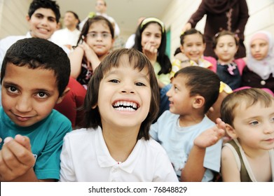 Children group, happiness and togetherness