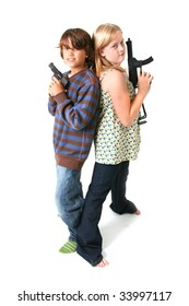 children with guns isolated on white. boy and girl playing gangsters
