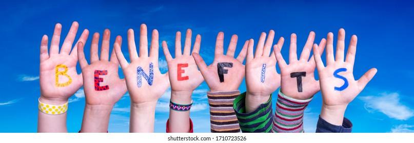 Children Hands Building Word Benefits, Blue Sky