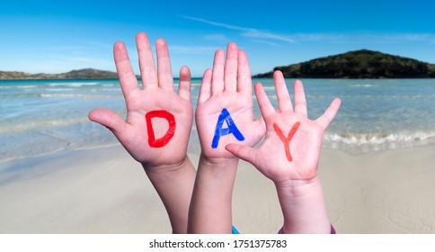 Children Hands Building Word Day, Ocean Background