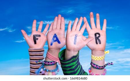 Children Hands Building Word Fair, Blue Sky