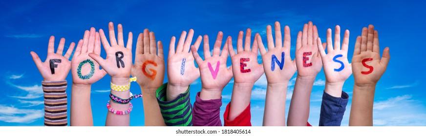 Children Hands Building Word Forgiveness, Blue Sky