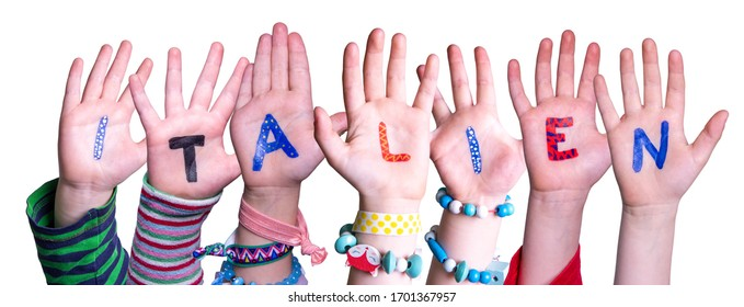 Children Hands Building Word Italien Means Italy, Isolated Background