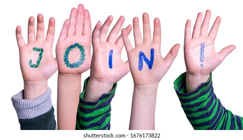 Children Hands Building Word Join, Isolated Background