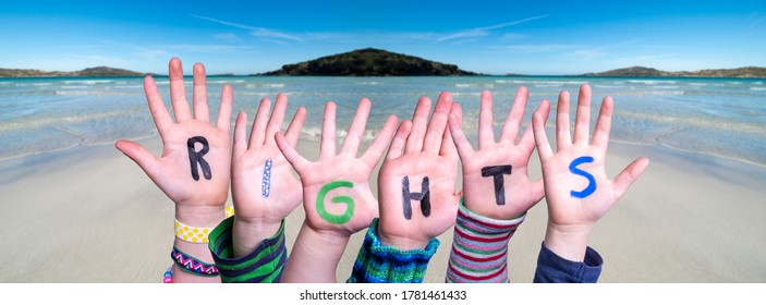 Children Hands Building Word Rights, Ocean Background