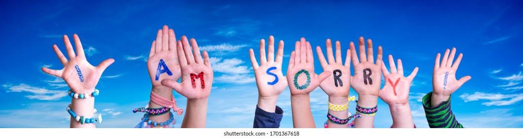 Children Hands Building Word I Am Sorry, Blue Sky - Shutterstock ID 1701367618