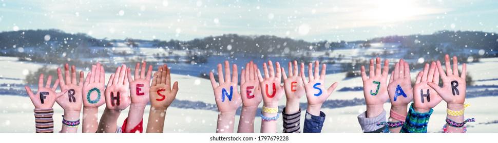 Children Hands, Frohes Neues Jahr Means Happy New Year, Snowy Winter Background