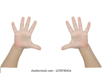 children hands is showing ten fingers Copy-space. Isolated on white background with clipping path.