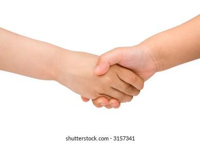 children hands with white background