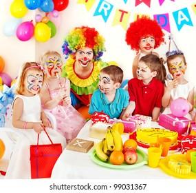 Children happy birthday party .