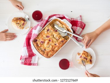 Children have breakfast cottage cheese casserole and tea