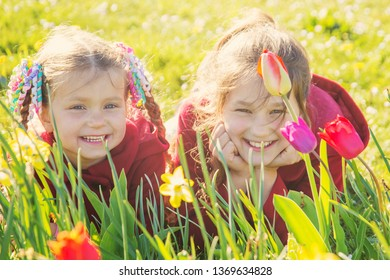 Children have fun on the blooming lawn. Children family portrait with spring flowers tulips and daffodils. Two sisters smile and enjoy the flowers.