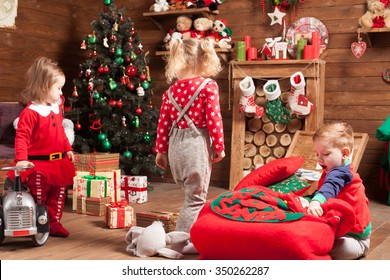Children have fun on Christmas eve