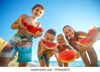 Children have fun on the sandy beach in summer. High quality photo.