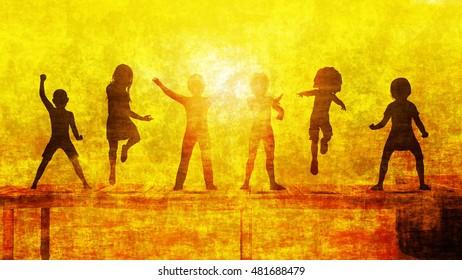 Children Having Fun in the Sun by the Beach 3D Illustration Render