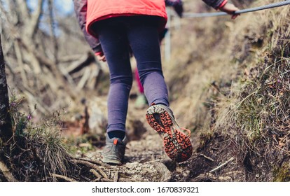 Children hiking in the mountains or woods on family trip. Active family, parents and children mountaineering in the nature. Kids are walking in woods trail road in cold winter time.