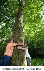 Children holding hands around tree in countryside loving nature