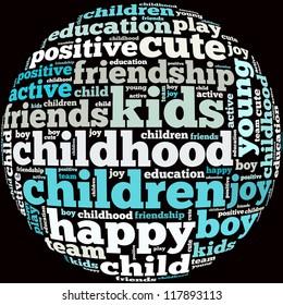 Children internet info-text graphics and arrangement concept on black background (word cloud)