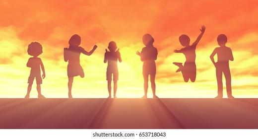 Children Jumping for Joy and Excitement Background 3D Illustration Render