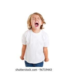 children kid screaming expression on white background