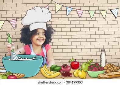 Children Kids Cooking Kitchen Fun Concept