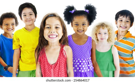 Children Kids Happines Multiethnic Group Cheerful Concept