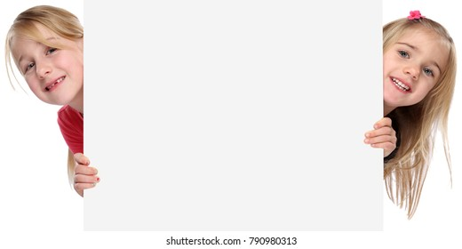 Children kids smiling young girls copyspace copy space marketing empty blank sign isolated on a white background