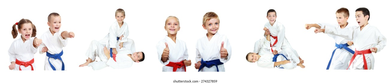 Children in a kimono and with different belts do methods of karate