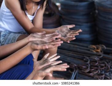 children labour Hands,world day against children labour concept: