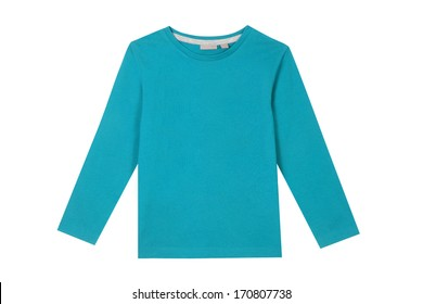 Children long sleeve shirt isolated on white.