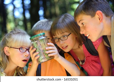 Children looking at bug in jar